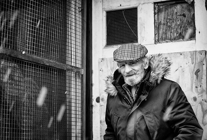 Old man in doorway, Beancroft Road, Castleford