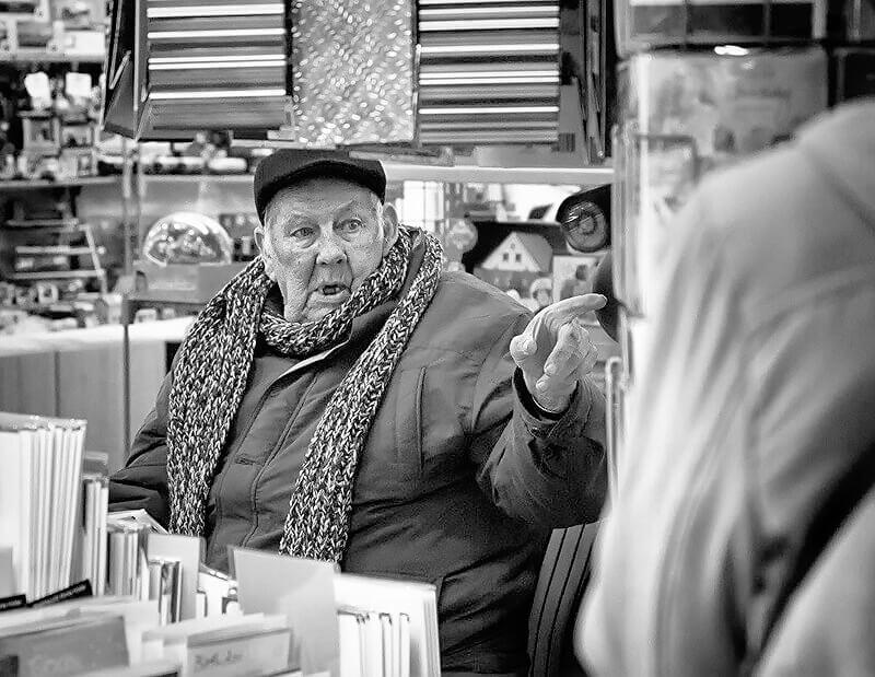 Man at Castleford market stall