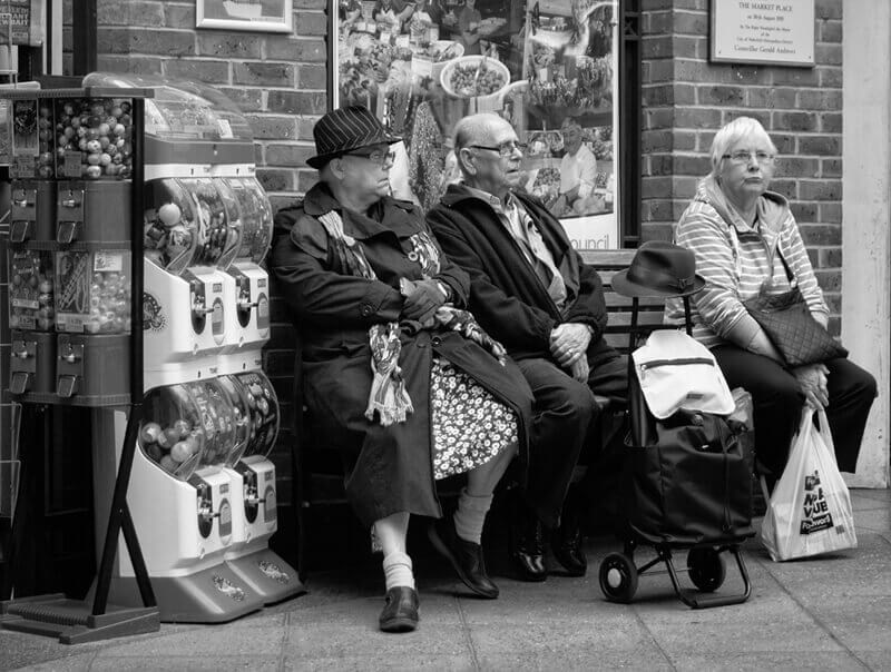 people on bench, Carlton Lanes shopping centre Castleford