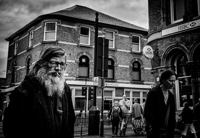 Bearded man smoking, Castleford