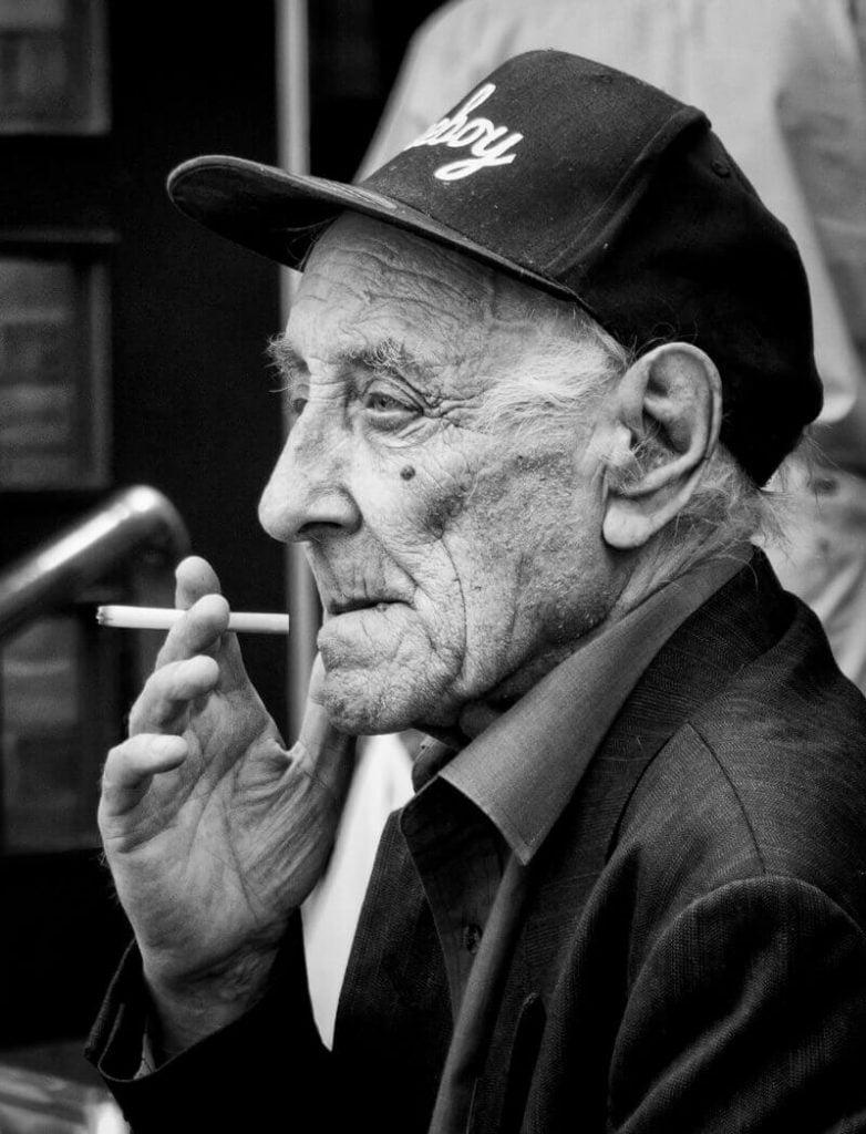 Old man smoking, Castleford