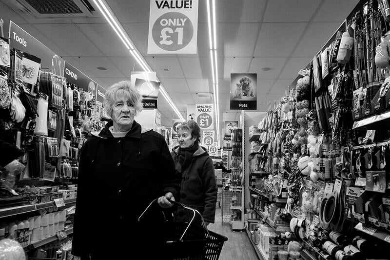 Shopping in pound store, Castleford