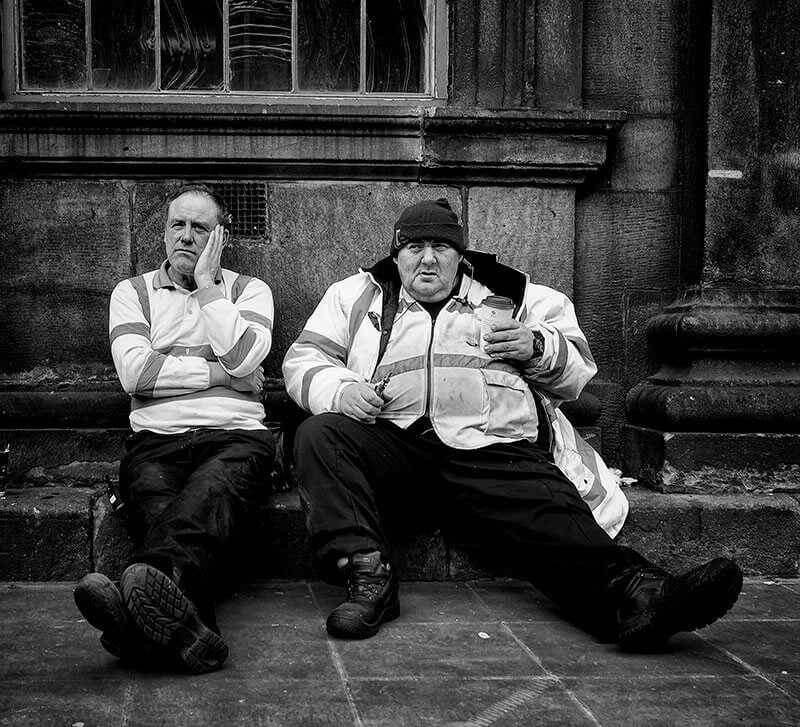 Two workeres resting in Leeds