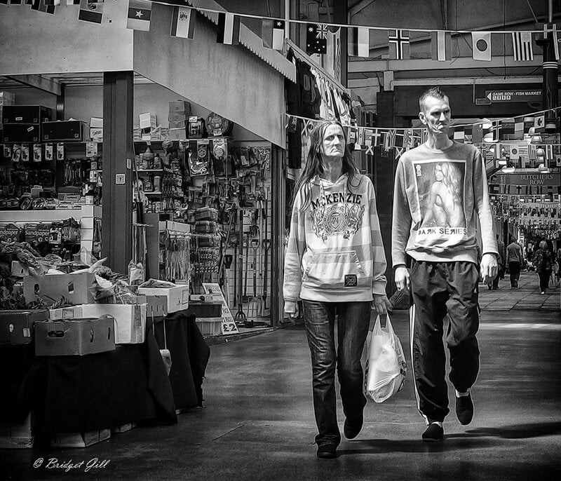 very thin man and woman Leeds market