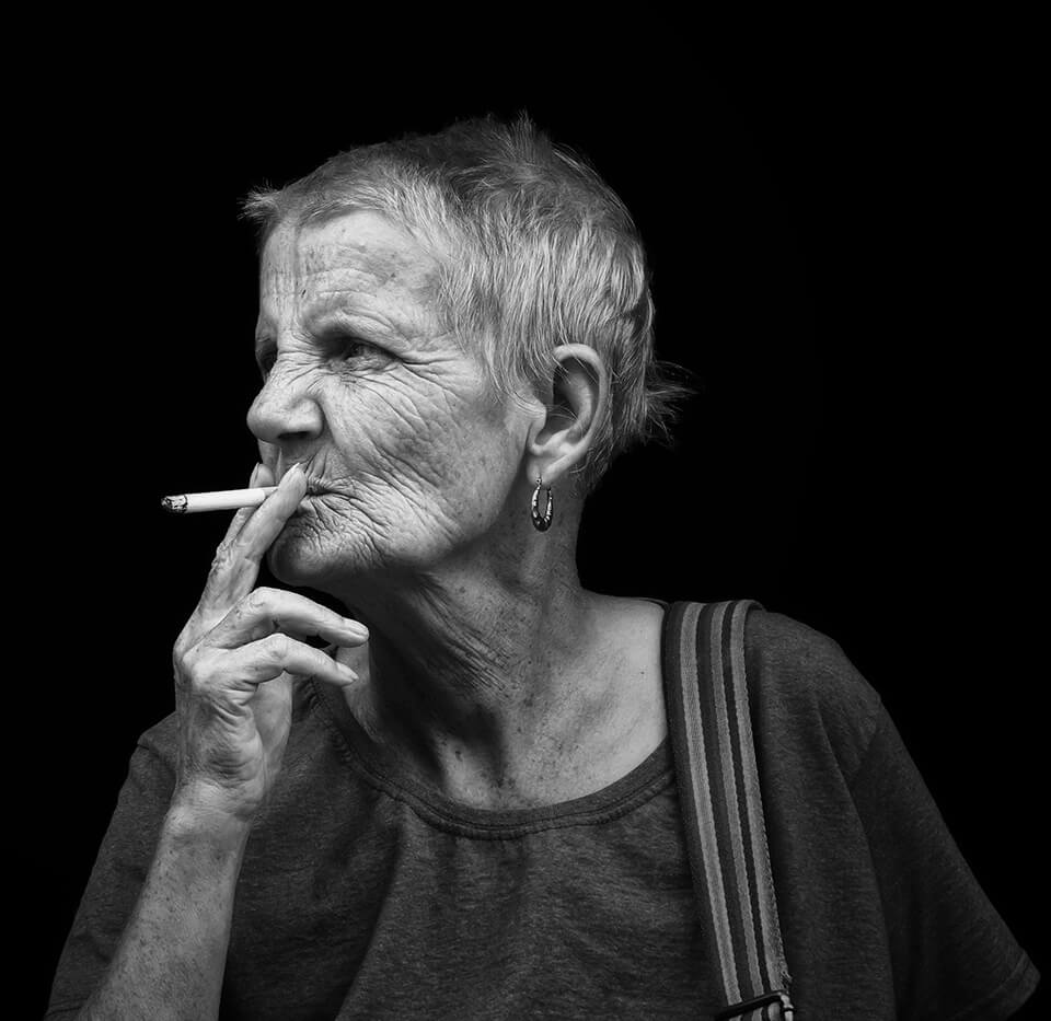 Portrait of woman smoking