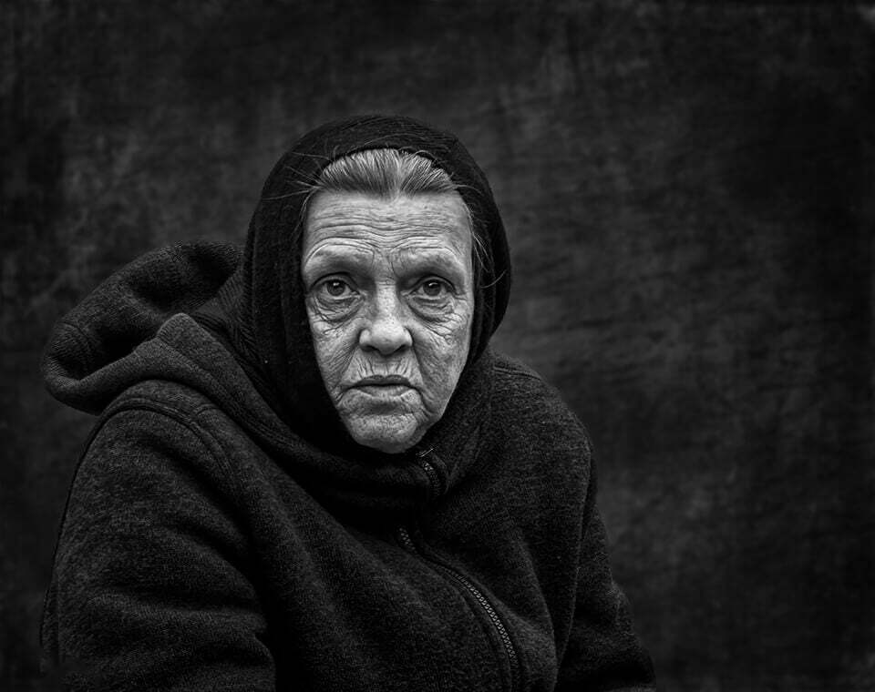 Woman in hood portrait