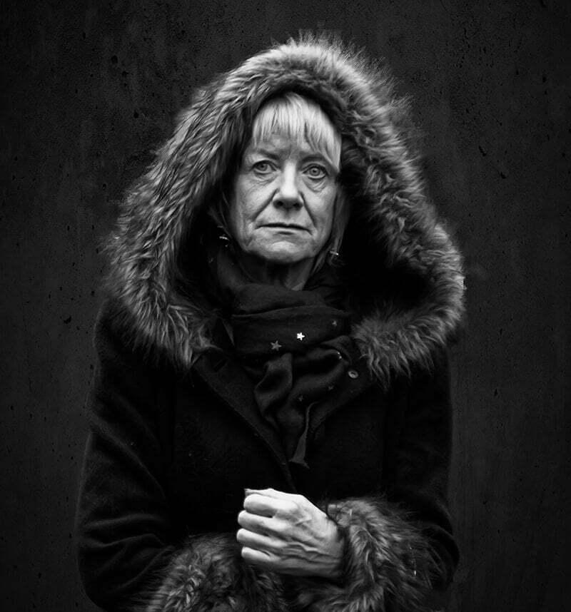 Woman in fur coat and hood, York