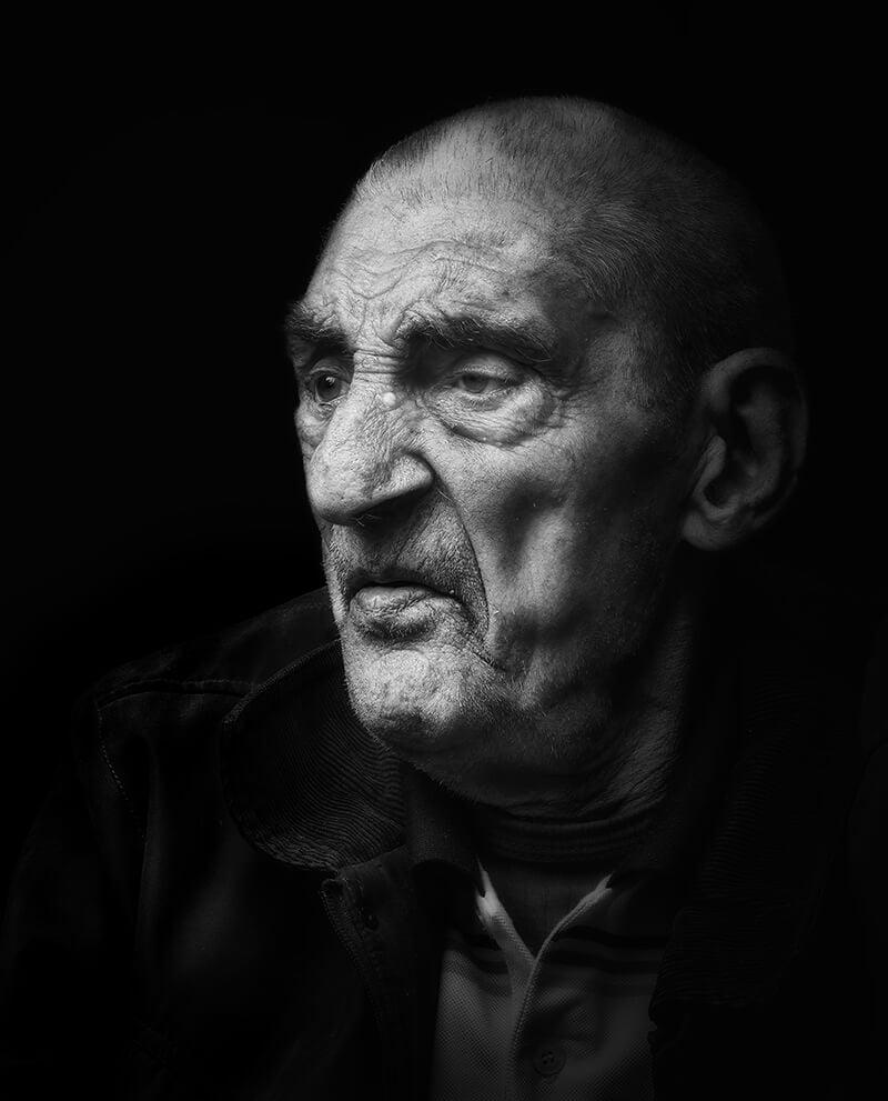 Portrait of man in shadows