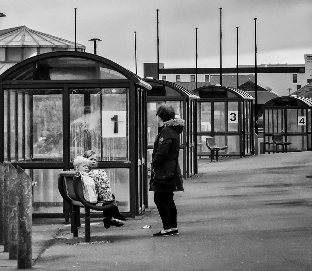 Woman and children Rhyl bus station
