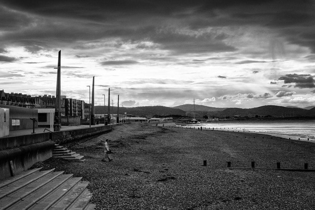 Rhyl beach under dramtic sky