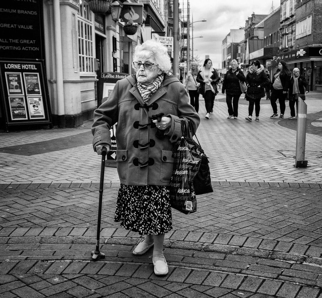 Woman shopping in Rhyl