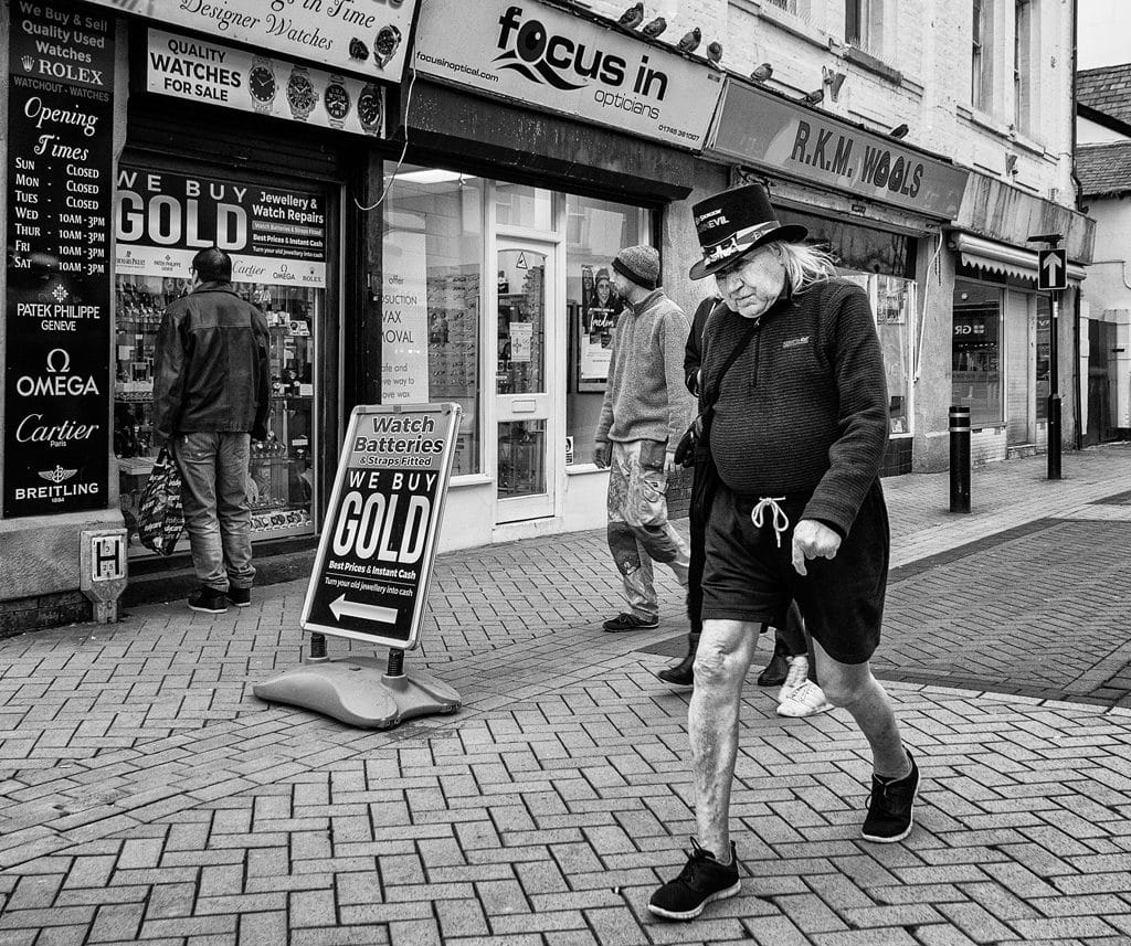 Eccentric man in shorts, Rhyl