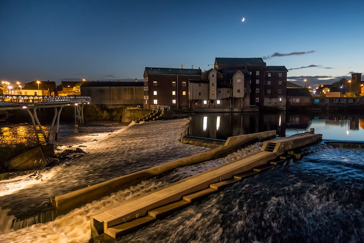 Queens Mill Castleford at night - After the Coal Dust exhibition venue